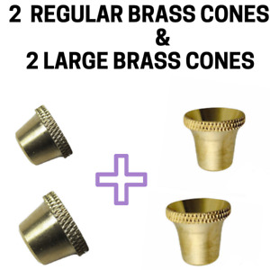 2 x Regular & 2 x Large Bonza Billy Bucket Brass Cone Piece