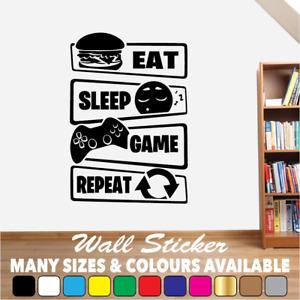 Gaming Wall Art Sticker Decal Eat Sleep Game Repeat Gamer Boys Girls Bedroom #02