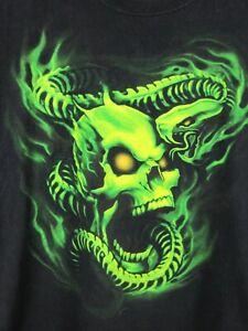 Green Flame Skull & Snake Skeleton Battle Mens T Shirt Size XL Crew Neck Black