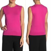 J. Crew Crew Neck Knit Tank Top Shell Crisp Berry Pink Cotton Size Small NWOT