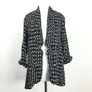 Glassons Jacket Womens Unstructured Blazer Black White Abstract Medium 12 14 UK