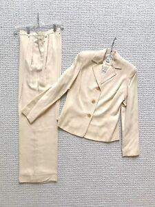 NWT Ann Taylor silk suit jacket pants slacks sand beige size 2 XS orig. $330