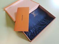 LOUIS VUITTON 100% Cashmere scarf Jhelam Stole Blue New Mint Condition R.P. 650£