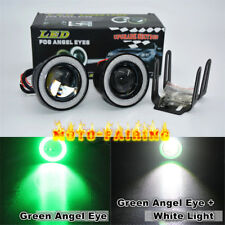 "2x 3.0"" LED Fog Lights Projector With COB Green Angel Eye Halo Rings High Power"