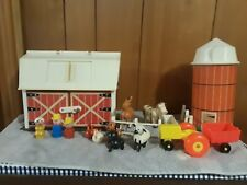 Vintage Fisher Price Little People Farm & Silo Wood People 17 pieces. RARE