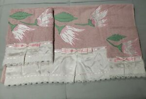 Embroidered BathroomTowel Set 3Pcs Pink/White. New