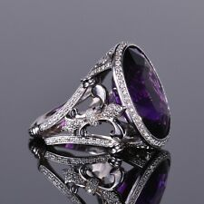 Louis XV Amethyst and Diamond Cocktail Ring Pave Halo Ring