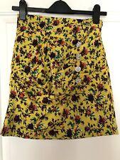 ZARA Yellow Floral Mini Ruffle Ruched Skirt XS BNWT