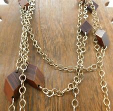 "Wood Stained Brown Diamond Shape Gold Tone Link Layering Long 46"" Necklace"
