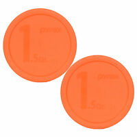 """Pyrex 323-PC 8.5"""" Round Orange Storage Lid Cover 2PK for 1.5Qt Glass Mixing Bowl"""