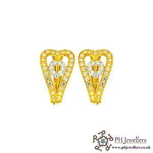22ct 916 Hallmark Yellow Gold Clip On Earring CZ CE14