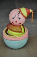 Vintage Celluloid Colorful Clown In Basket Musical Toy , Japan?