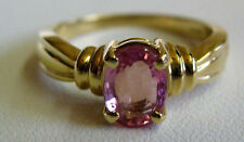 Pink Tourmaline 1 Carat Oval Solitaire 14 Karat Yellow Solid Gold Ring Sz 6 NEW