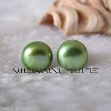 8085mm Green Freshwater Pearl Stud Earrings AC