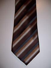 NWT Alfani men's brown black tan 90's Stripe Pack silk neck tie $49 new