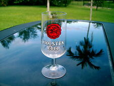 "HOLSTEN EDEL LOGO  6""+ STEMMED  WINE OR BEER  GLASS KNIGHT LOGO IN RED AND BLACK"