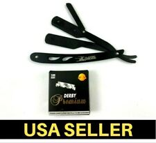 Stainless Steel Straight Edge Barber Razor with 100 Derby Blades Folding Black
