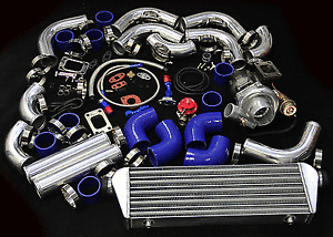 T04E 12PC T3/T4 UNIVERSAL TURBO KIT V-BAND TURBOCHARGER WASTEGATE INTERCOOLER
