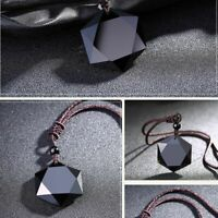de la chance des bijoux hexagramme forme collier amulette obsidian pendentif