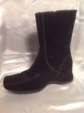 Fiore Black Mid Calf Suede Boots Size 4