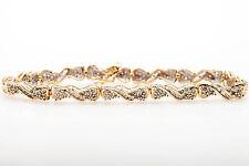Estate $5000 3ct Natural Baguette Round Diamond 10k Yellow Gold Bracelet