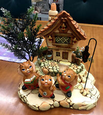 Pendelfin Christmas Scene Lantern Stand Cobble Cottage w/ Clanger, Solo & Jingle
