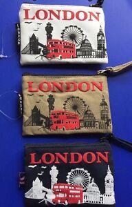3 Canvas Material Coin Money Bag Purse Card Holder London Souvenir Gift