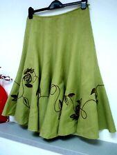 Ladies Lovely Per Una Green Embroidered Below Knee Length Linen Skirt, 10, Vgc