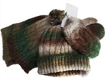 M&S Boys Baby Scarf Hat Mittens Set Camo Mix Winter Wool Blend Cosy Cable Knit