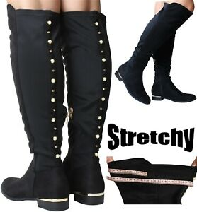NEW Ladies Black Knee High Boots Nylon Stretch Wide Fit Flat Heel