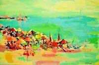 DIAMOND Original Vintage Signed Impressionist Beach Harbor Seascape Oil Painting
