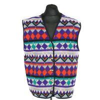 Vintage Patterned Fleece Waistcoat | Gilet Vest Jacket Aztec Sleeveless