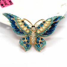 Betsey Johnson Lovely Rhinestone Blue Butterfly Crystal Charm Brooch Pin