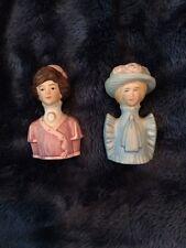 Set of 2 Avon 1982 American Fashion Silhouettes (1900-1927)Porcelain Thimbles