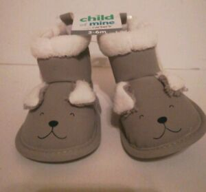 Carter's Child of Mine Infant Booties Shoes Size 3-6 Months Puppy Gray White