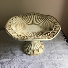 Italian Pottery Pedestal Petite Stand Compote Gold & Cream Scallop Leaves