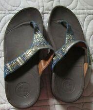 FitFlop Flip Flop Sandals Strap Blue w Gold Beads Sz 9 M Micro WobbleBoard