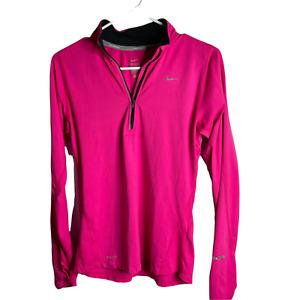 Nike Running Dri Fit 1/4 Zip Pullover Shirt Women's S Pink Long Sleeve Thumbhole