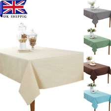 Cotton Linen Tablecloth Table Cover Solid Coloured Plain Printed Home Decor
