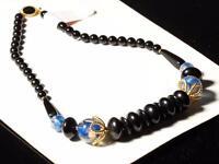 "Vintage 18"" Czech necklace lampwork aventurine blue satin glass beads"