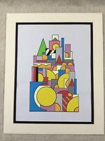 Original Modern Kunst Malerei Geometrische Formen Bold Pop Art Vintage Retro