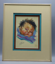 """Carol Theroux """"Sleeping Indian Baby"""" Watercolor Listed Native American Artist"""