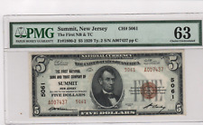 New listing Rare 1929 Type 2 $5. -Charter 5061 - Summit Nj - Pmg 63 Choice Uncirculated