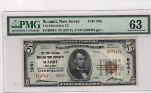 RARE 1929 TYPE 2 $5. -CHARTER 5061 - SUMMIT NJ - PMG 63 CHOICE UNCIRCULATED