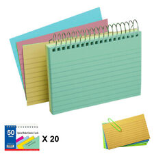 20 Pack Spiral Bound Index Cards 3 X 5 Ruled 50ct Assorted Colors Wholesale Us
