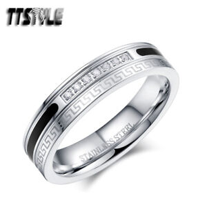 TTStyle 5mm Stainless Steel Greek Key Band Ring With Clear CZ Size 6-11 NEW