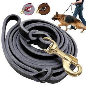 6/8ft Leather K9 Dog Leash Long Tracking Training Lead Large Big German Shepherd