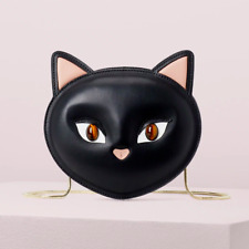kate spade Cats Meow Cat Leather Crossbody Clutch ~NWT~ Black