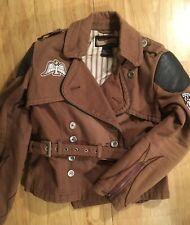 Rare Icon Motosports Women Large Brown Style Coat Jacket Protective Icon Moto