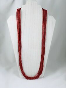 Red Coral 9 Strand Sterling Tube Heishi Bead Necklace Signed LUC Lucus Lameth